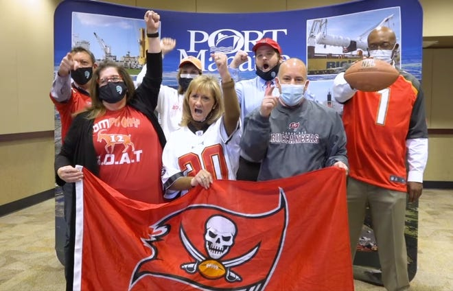 The Manatee County Commission cheers the Tampa Bay Buccaneers in this image from video posted on Feb. 2, 2021.