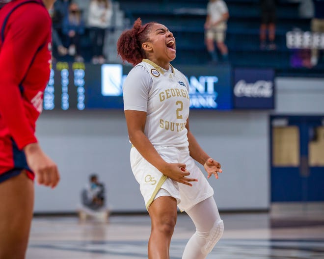 Georgia Southern's Daeja Holmes (2) reacts to a play during the game against South Alabama on Jan. 22 at Hanner Fieldhouse in Statesboro.