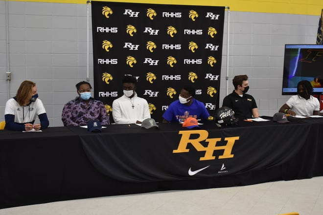 Richmond Hill seniors on signing day, from left: Britton Williams (Georgia Southern), Shaquan Brooks (Berry), Arman Mason (Mississippi Valley State), Jordan Clark (Savannah State), Tyler Coleman (LaGrange) and Ashaud Roberson (West Georgia).