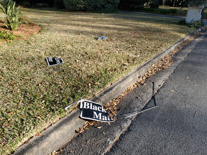 """A letterwriter was disturbed by the destruction of this """"Black Lives Matter"""" yard sign in her neighborhood."""