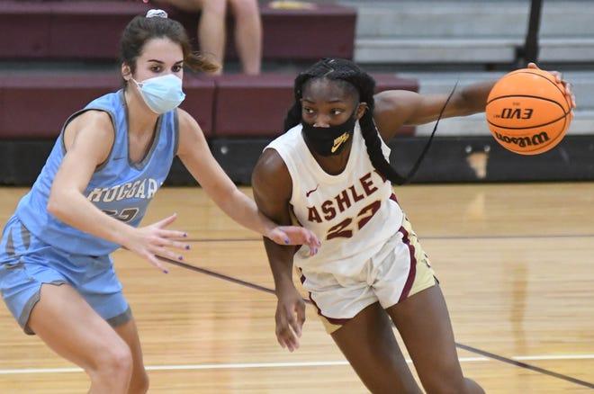 Ashley guard Saniya Rivers drives to the basket against Hoggard at Ashley in Wilmington, N.C., Tuesday, February 2, 2021.   [MATT BORN/STARNEWS]