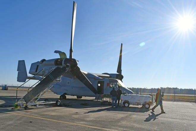 A V-22 Osprey undergoes final inspections on the FRCE flight line on January 15, just before completion. This aircraft's 297-day turnaround time set a new milestone for the V-22 production line at FRCE. [CONTRIBUTED PHOTO]