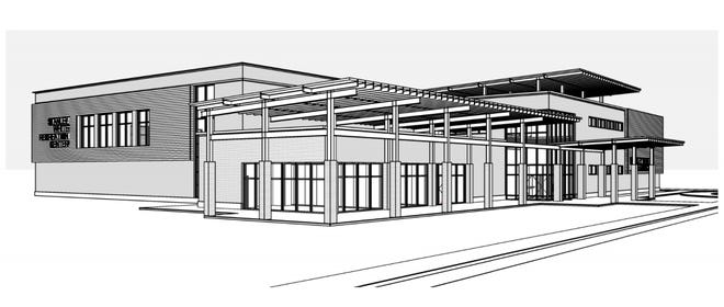An architectural rendering shows a proposed design for a new Stanley White Recreation Center, which would front Third Street. A proposal for the new building is scheduled to be presented to the New Bern Board of Aldermen this month. [CONTRIBUTED]