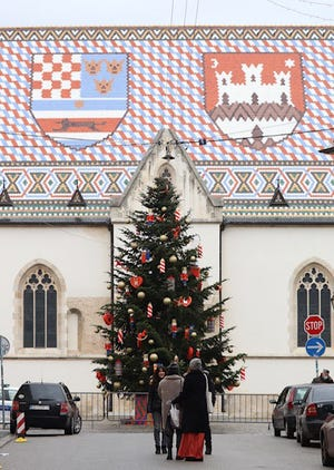 Pictured, the Difede's visit St. Mark's Church, Zagreb. [CONTRIBUTED PHOTO]