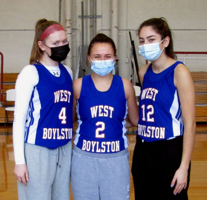 West Boylston girls' basketball captains include junior Rhiann Dugan, left, junior Abby Mullins, and senior Mia Klotz.