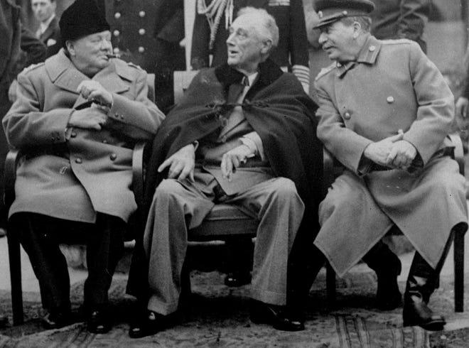 On Feb. 4, 1945, President Franklin D. Roosevelt, British Prime Minister Winston Churchill and Soviet leader Josef Stalin began a wartime conference at Yalta.