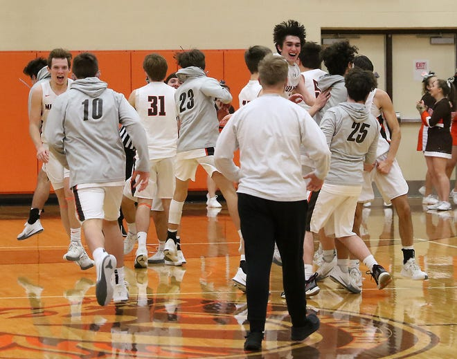 Claymont's players celebrate after the overtime win over Indian Valley Tuesday.