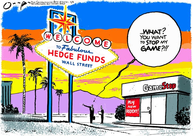 The tables have turned on investors gambling on GameStop stock. By Jack Ohman.