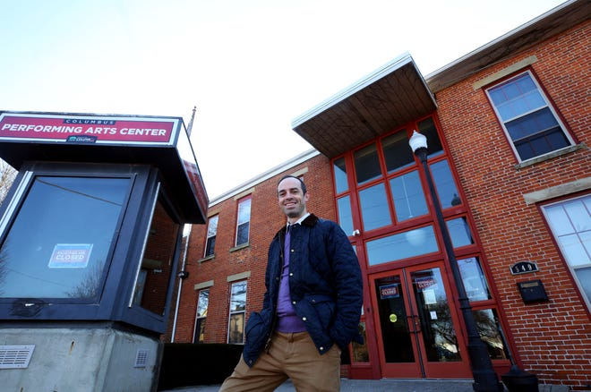 Geoffrey Martin, arts administrator for the Columbus Recreation and Parks Department, stands outside the Columbus Performing Arts Center, 549 Franklin Ave. in Columbus. The Golden Hobby Gift Shop will relocate to the center this spring.