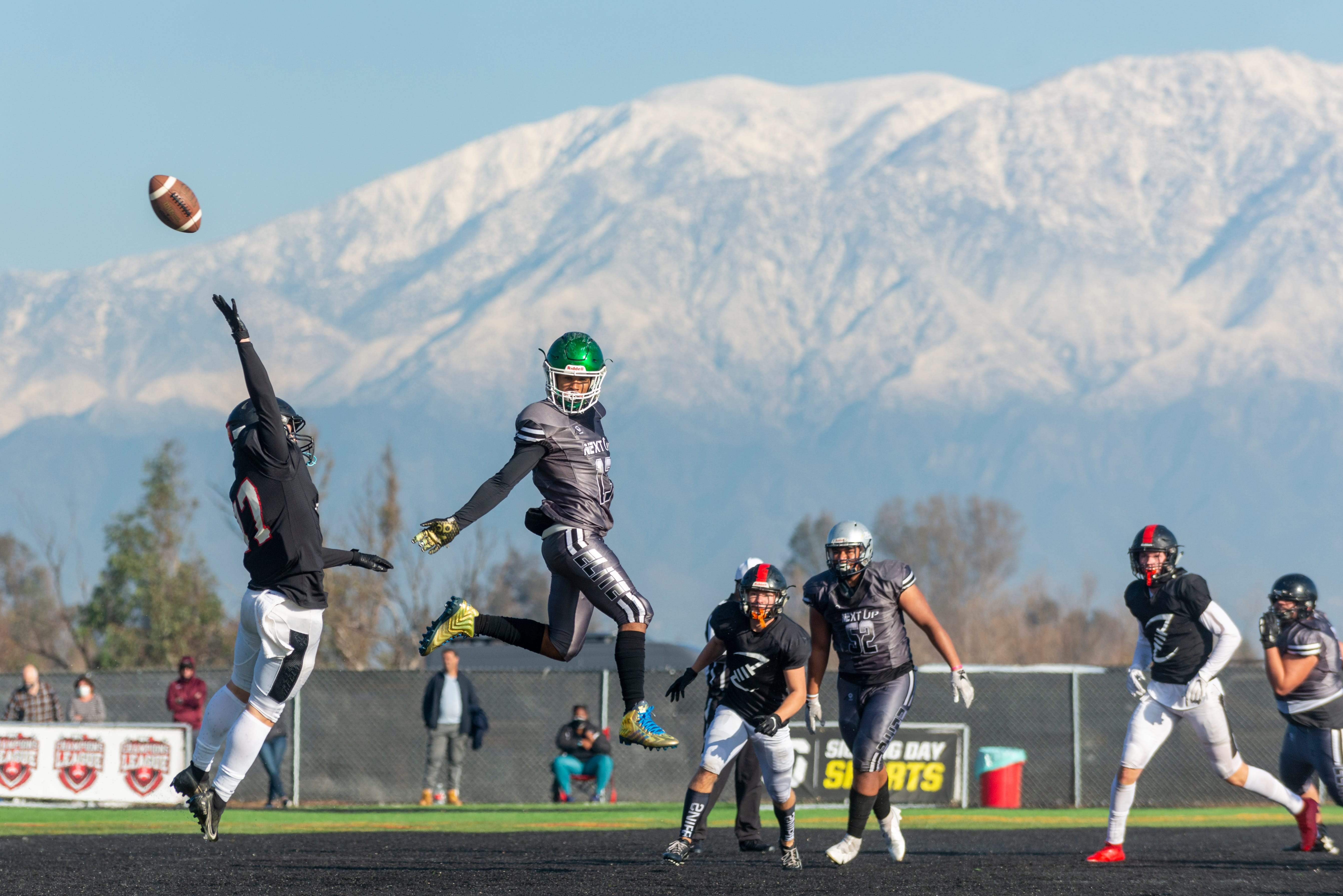 Next Up Elite's Corinthias Jones, center, watches the ball fly past him against Redzone Elite during a Winner Circle Champion League game on Saturday, January 30, 2021.