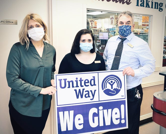 Pictured left to right: Amanda Joyce-Phelps, Director of Allegany County United Way; Sierra Driebelbis, Assistant Front End Manager; and Phil Williams, Wellsville Store Manager.