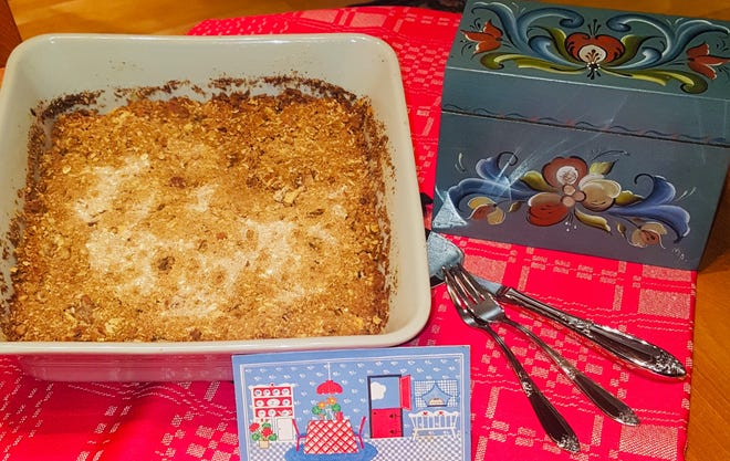 For her wedding, Debra Holland's friends and family members gifted her with a recipe box filled with recipes, including one for apple crisp.