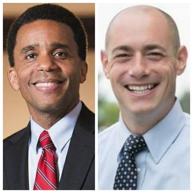 Cincinnati Vice Mayor Christopher Smitherman, left, and Councilman Greg Landsman