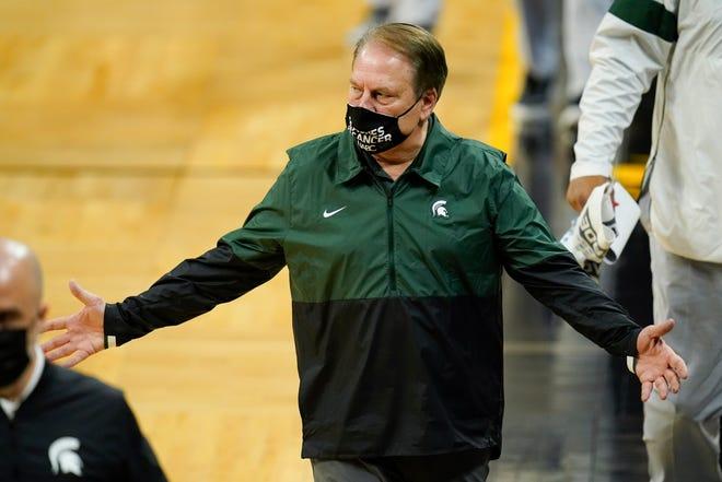 Michigan State coach Tom Izzo walks off the court at halftime on Tuesday, Feb. 2, 2021, in Iowa City, Iowa.