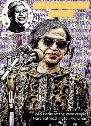 This Rosa Parks birthday card by Niema Hussain, a 17-year-old 11th grade homeschooled student in Montgomery. It features Parks speaking in 1968 at the Poor People's March at the Washington Monument.