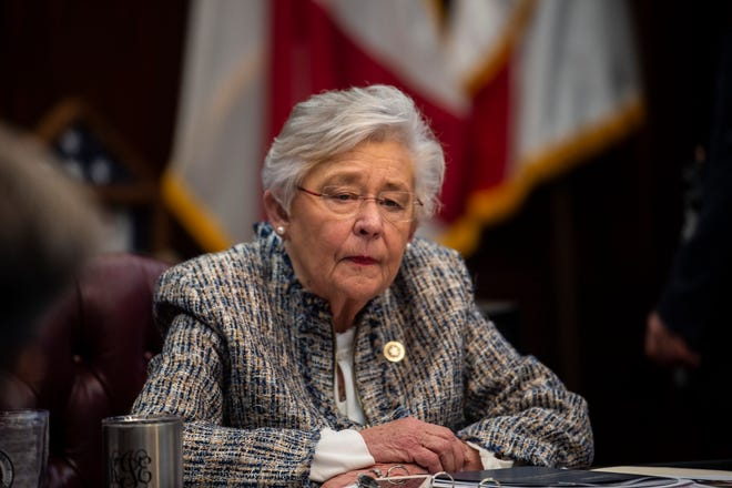 Gov. Kay Ivey holds a sit down interview with reporters in the Governor's office at the Alabama State Capitol Building in Montgomery, Ala., on Wednesday, Feb. 3, 2021.