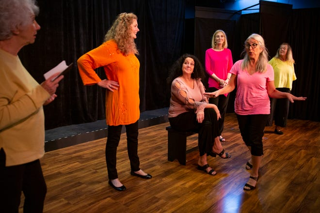 "Marilyn Wilbert, left, Rose Curreri,  Christi Lueck Sadiq  PattI, Corsini-Caroli, Marilyn Schweltzer and Kay Mayr, act in a scene from ""Laugh, Cry, Pee, Repeat!"" Tuesday Feb. 2, 2021, at the Marco Players Theatre on Marco Island."
