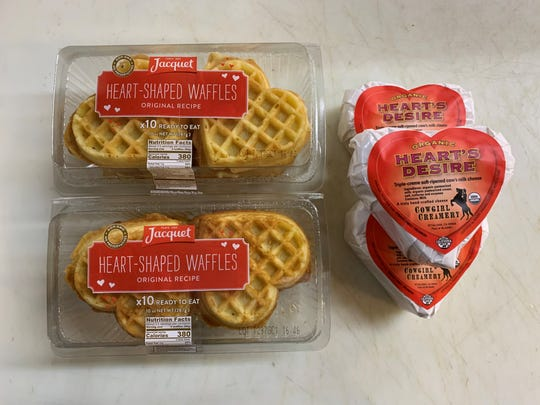 Heart shaped waffles and heart-shaped cheese at Super Cellars in Ridgewood
