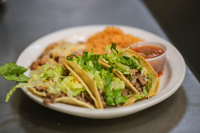 A taco plate is made to order at Josefina's Old Gate, a historic inn, gift shop and restaurant, in Mesilla on Tuesday, Feb 2, 2021.