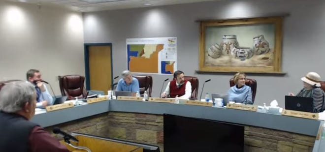 The San Juan County Commission, seen in this screenshot, unanimously passed a resolution on Tuesday, Feb. 2, 2021, opposing House Bill 4, the New Mexico Civil Rights Act.