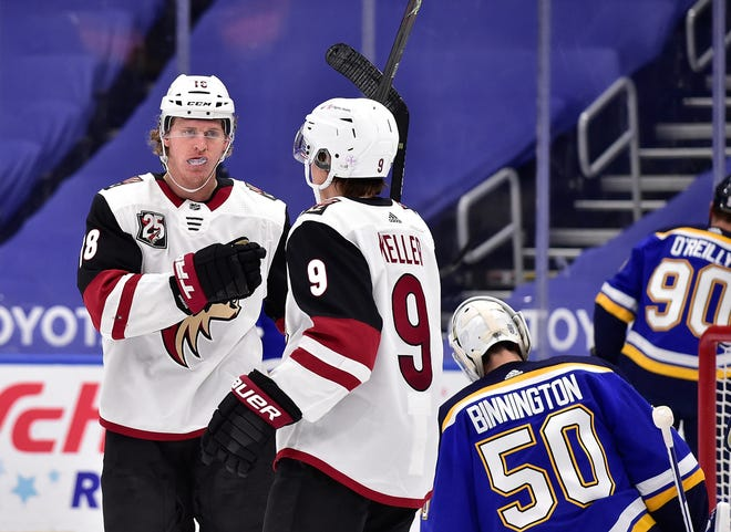 Feb 2, 2021; St. Louis, Missouri, USA;  Arizona Coyotes center Christian Dvorak (18) is congratulated by right wing Clayton Keller (9) after scoring against St. Louis Blues goaltender Jordan Binnington (50) during the second period at Enterprise Center. Mandatory Credit: Jeff Curry-USA TODAY Sports