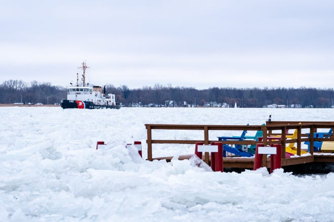 The USCGC Bristol Bay works on clearing an ice jam in the St. Clair River Wednesday, Feb. 3, 2021, in Algonac.