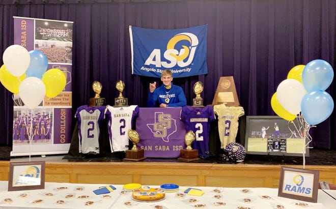 San Saba High School's Logan Glover signed a national letter of intent Wednesday, Feb. 3, 2021, to play football for Angelo State University.