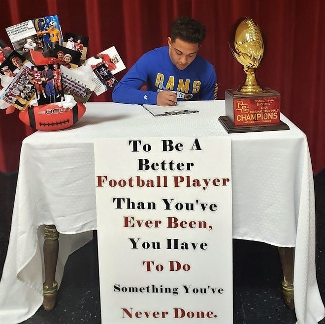 Christoval High School senior football standout Brayden Wilcox signed a letter of intent during National Signing Day on Wednesday, Feb. 4, 2021. Wilcox was a standout at quarterback and defensive back for the Cougars and he was named the 2020 All-West Texas 11-man Football Team MVP.