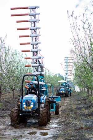 Edete's robotic pollination machines can supplement or replace the work of bees in pollinating crops.
