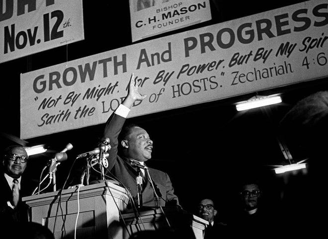 Dr. Martin Luther King Jr. on March 18, 1968, in Memphis, Tennessee.