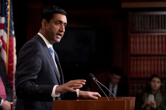Rep. Ro Khanna, D-Calif., speaks at a news conference on Capitol Hill in Washington, Wednesday, Jan. 30, 2019, on a reintroduction of a resolution to end U.S. support for the Saudi-led war in Yemen.