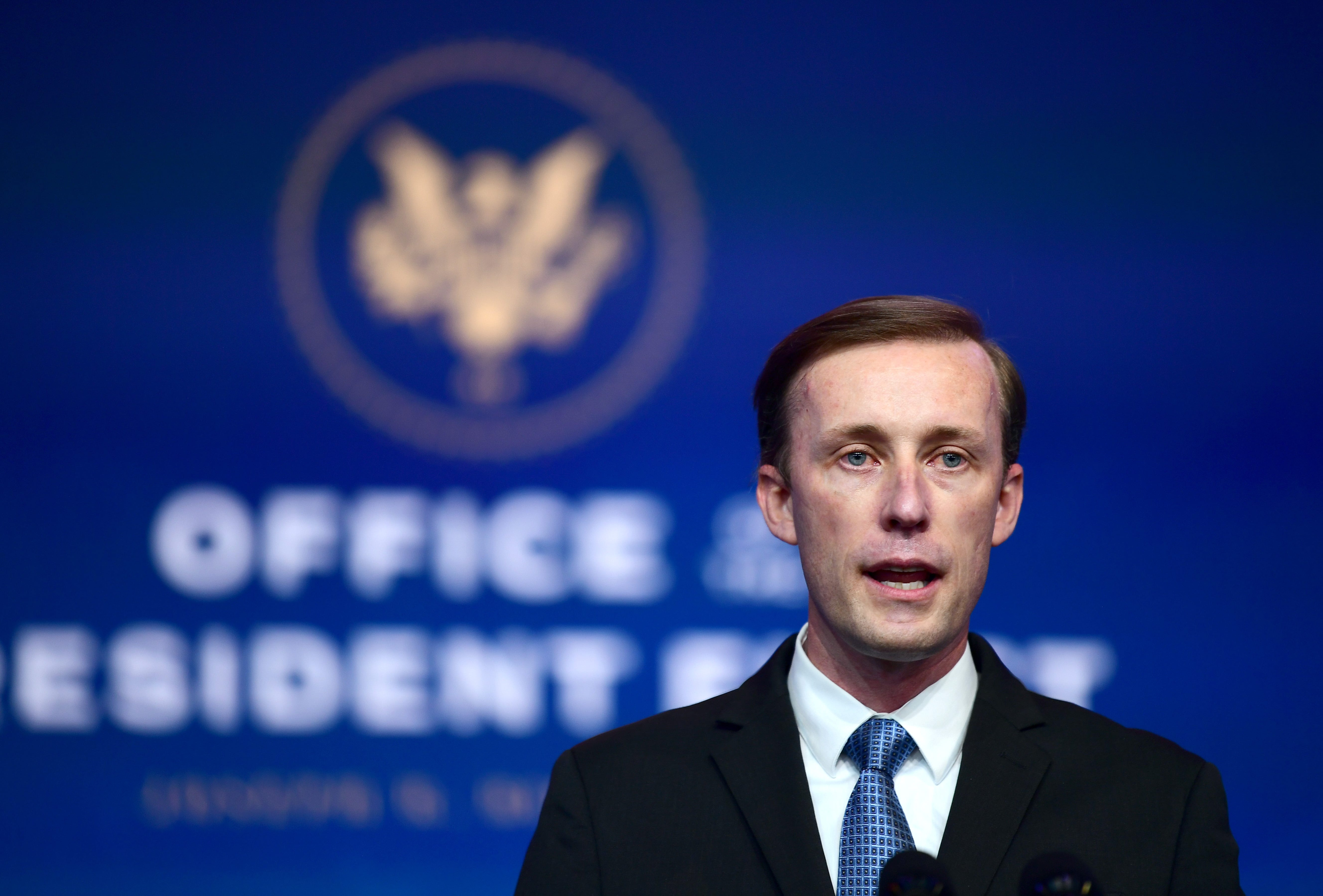 National Security Advisor nominee Jake Sullivan speaks after being introduced by President-elect Joe Biden as he introduces key foreign policy and national security nominees and appointments at the Queen Theatre on November 24, 2020 in Wilmington, Delaware.