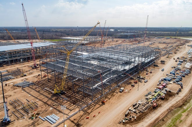 Construction continues on the Tesla factory in southeastern Travis County. Tesla is in line to receive up to $60 million in taxpayer-subsidized incentives for the $1.1. billion facility.