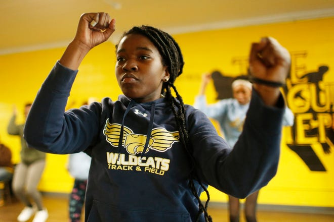 Danaysha Butler of Haymon-Morris Middle School dances during a League of Step Crusaders practice at their studio in Athens. [Joshua L. Jones, Athens Banner-Herald]
