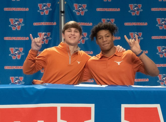 Westlake seniors Michael Taaffe, left, and Zane Minors will walk on at Texas. Taaffe is a defensive back who once was committed to Rice, and Minors is a running back who had pledged to Yale.