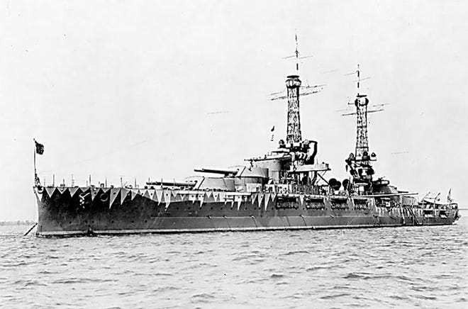The USS Oklahoma wearing experimental camouflage, circa 1917.