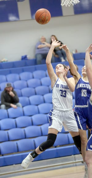 New Franklin sophomore Carly Dorson puts up a shot in the first half Tuesday night against Jamestown. Dorson led all scorers in the game for the Lady Bulldogs with 14 points in a 50-45 loss against the Eagles.