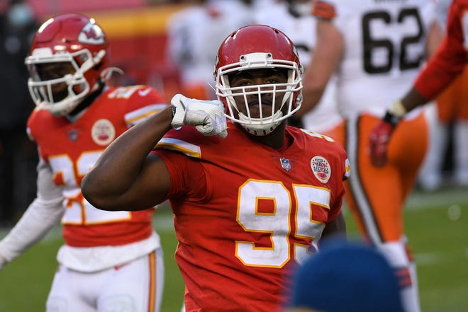 Kansas City Chiefs defensive tackle Chris Jones celebrates during the second half of an NFL divisional-round playoff game against the Cleveland Browns on Jan. 17 in Kansas City.