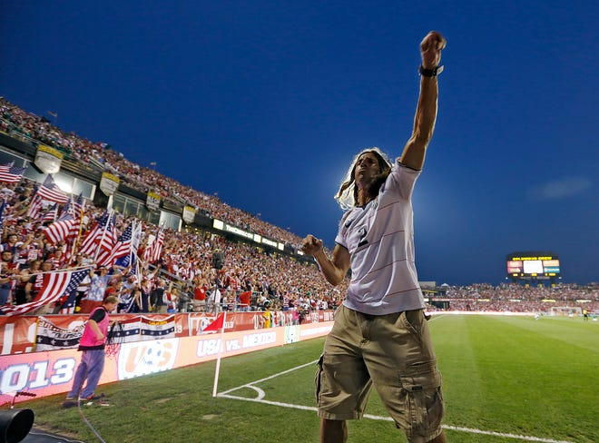 Frankie Hejduk pumps up the crowd in Columbus at a 2013 World Cup qualifying match between the United States and Mexico. Hejduk played on two World Cup and two Olympic teams.