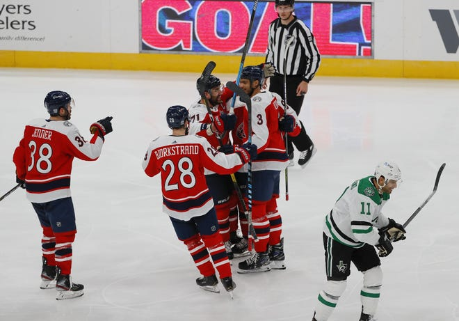 Blue Jackets defenseman Seth Jones (3) on Tuesday scored his first goal of the season in a game against Dallas.