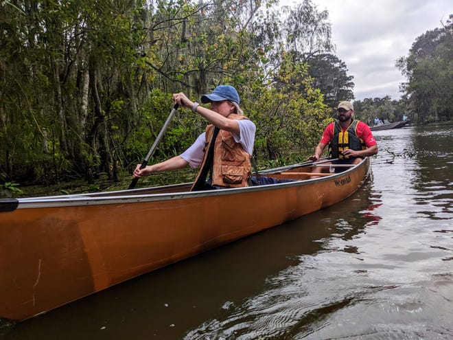 In 2019, Emily Knobloch and Cody Blanchard paddle their canoe through a bayou near Lake Verret during the Barataria-Terrebonne National Estuary Program's fall paddle.