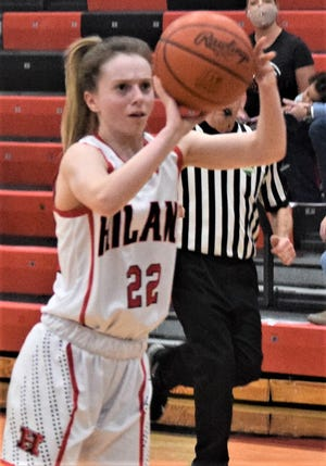 Kyli Horn eyes 3-point attempt. The senior swished five of six 3-point attempts in leading Hiland with 17 points in a 70-37 thumping of Garaway.