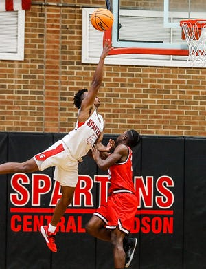 Central Davidson's Lleyton King is shown action against Thomasville last season. King and the Spartans have a big matchup with North Davidson on Friday. [Michael Coppley for The Dispatch]