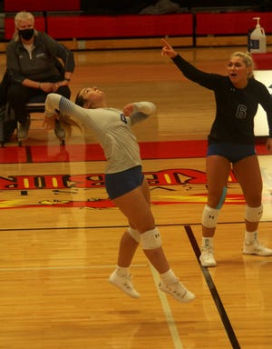 Royals outside hitter Morgan Anderson prepares to hit the ball in a game against Bismarck State on Feb. 3 at Devils Lake High School. The Royals lost 3-0.