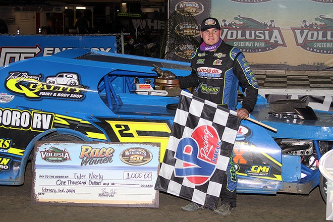 Tyler Nicely won one of the two feature races on the program Wednesday night, Feb. 3, 2021 during the 50th DIRTcar Nationals at Volusia Speedway Park.
