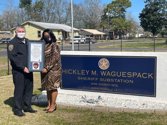 Donaldsonville resident Wanda August received the honorary sheriff certificate for the first quarter of 2021 from Sheriff Bobby Webre.