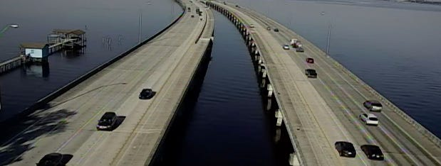 This is a screengrab image of the Buckman Bridge from First Coast News' webcam.