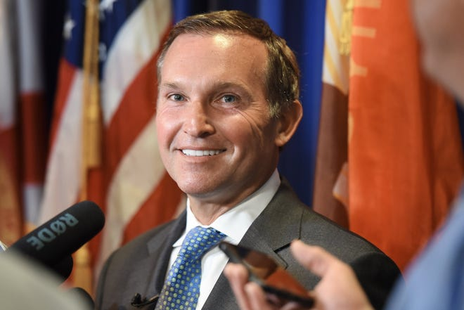 Jacksonville Mayor Lenny Curry fields questions from the media in this 2019 photo.