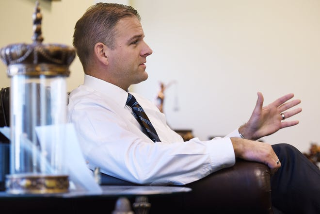 Then-Public Defender Matt Shirk is shown during an interview with The Florida Times-Union in his downtown office on Tuesday, Jan. 12, 2015.