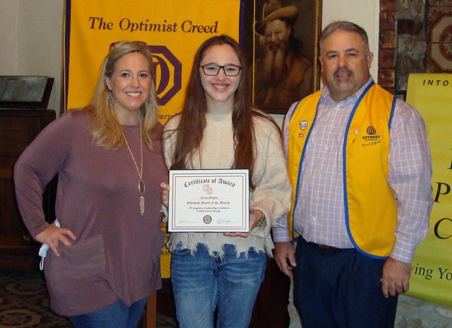 Glen Rose High School senior Erin Outen was recently recognized as a high school youth of the month by the Glen Rose Optimist Club.